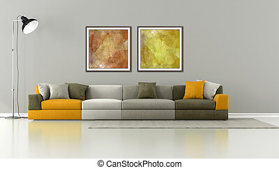 Minimalist lounge with colorful modern sofa - rendering