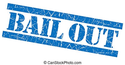 Bail out grunge blue stamp