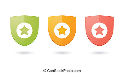 Shields with icons - Illustration of an isolated shields...