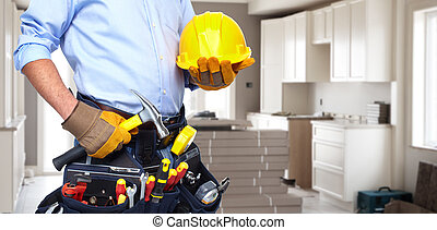 Handyman with a tool belt House renovation service