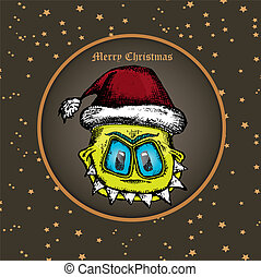 vector monster face character in santa red hat. - doodle...