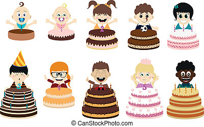 Birthday Party Kids - - Lovely, variable vector set to make...