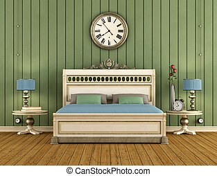 Vintage Bedroom with green wall paneling and classic bed -...