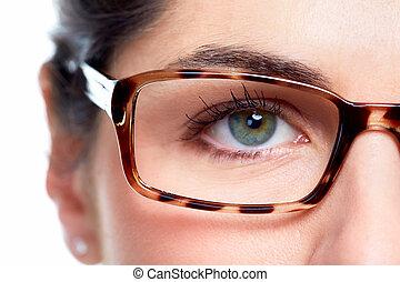 Eye glasses. - Eyeglasses. Woman wearing eyeglasses....