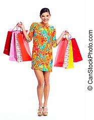 Happy shopping girl with bags Isolated white background