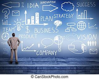 dall'aspetto, uomo affari, piano, innovazione