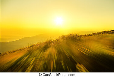 sunrise in mountain. - Mountain landscape. Composition of...
