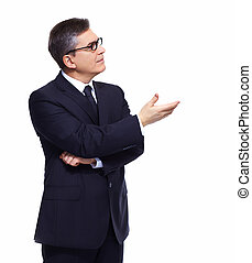 Businessman presenting copyspace - Businessman isolated over...