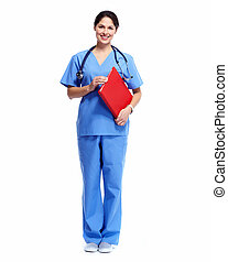 Medical nurse - Medical nurse woman Standing Isolated on...