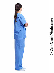 Medical nurse. - Medical nurse woman Standing Isolated on...