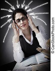Woman having headache. - Woman student having a headache and...