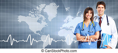 Professional doctor over healthcare background.