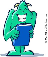 Book Monster - Cute monster creature holding a book