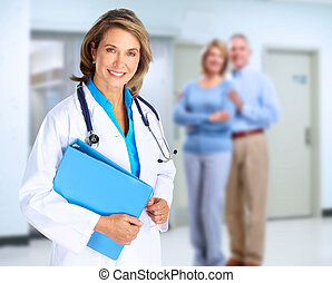 Smiling medical doctor woman and family. - Smiling family...