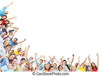 feliz, gente, grupo