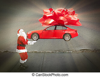 Santa claus with car gift Christmas holiday background