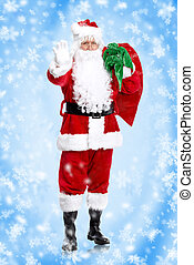 Santa claus - Traditional Santa claus over snowy christmas...