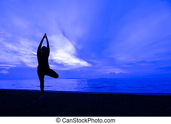 Yoga - Silhouette one woman with professional yoga posture...
