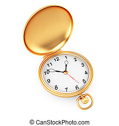 pocket watch isolated on white background. 3d render
