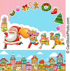 chrsitmas cartoons - set of Christmas cartoons and design...
