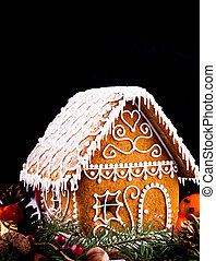 gingerbread house and decor - gingerbread house with...