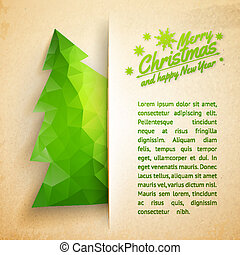 Christmas tree on a paper background - Christmas tree made...