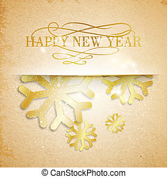 Golden snowflakes on paper background