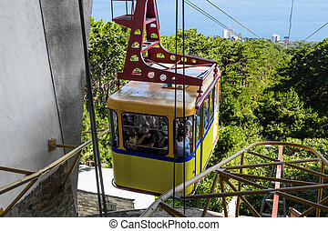Yellow cableway on Mount Ai-Petri is sent down,Crimea,...