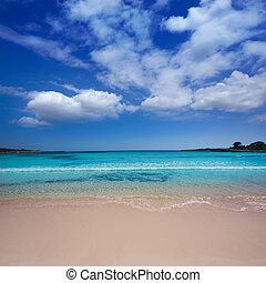 Menorca Son Saura beach in Ciutadella turquoise Balearic -...