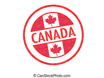 CANADA - Passport-style CANADA rubber stamp over a white...
