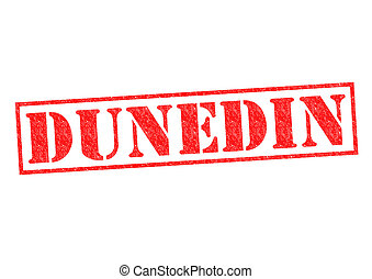 DUNEDIN Rubber Stamp over a white background.