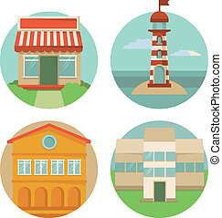 Vector building icons - round emblems with illustrations in...