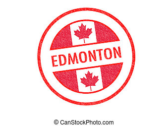 EDMONTON - Passport-style EDMONTON rubber stamp over a white...