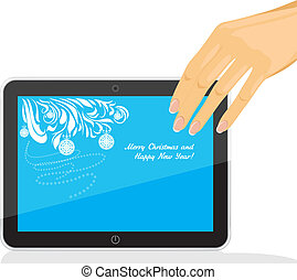 Female hand holding tablet pc with Christmas screen saver....