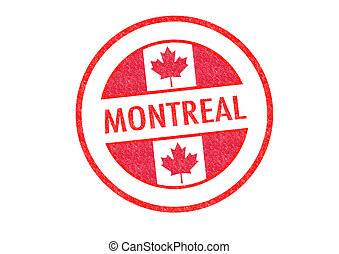 MONTREAL - Passport-style MONTREAL rubber stamp over a white...