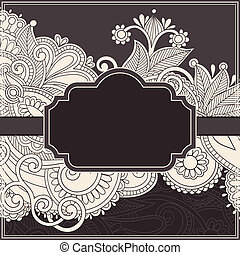 floral invitation card - ornate vintage template with...