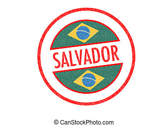 SALVADOR - Passport-style SALVADOR rubber stamp over a white...