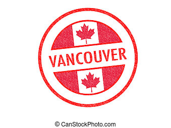 VANCOUVER - Passport-style VANCOUVER rubber stamp over a...