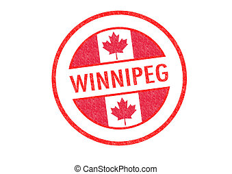 WINNIPEG - Passport-style WINNIPEG rubber stamp over a white...