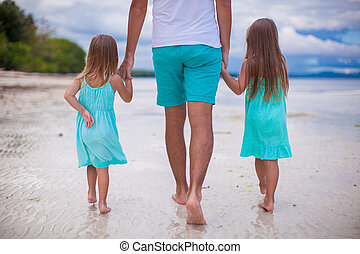 Rear view of Family on tropical white beach