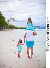 Rear view of dad and two kids on tropical white beach - Rear...