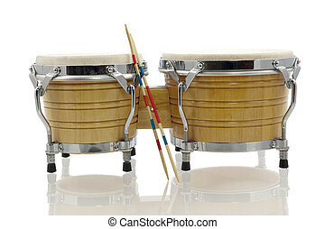 bongo set with drum sticks - Modern light brown bongo set...