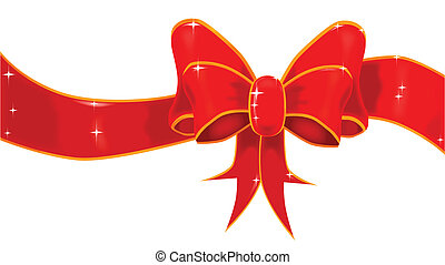 Gift Bow - A large silk ribbon tied into a bow with a red...