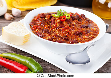 Chili con carne - stew with beans, minced meat and chili...