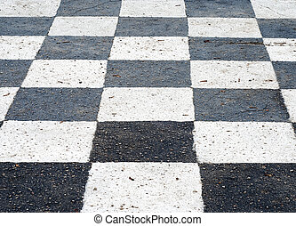 chess board painted on the ground