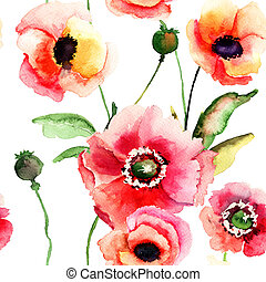 Seamless pattern with Poppy flowers, watercolor illustration...