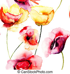 Colorful Poppy flowers, watercolor illustration, seamless...