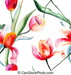 Seamless pattern with Tulips flowers, watercolor...