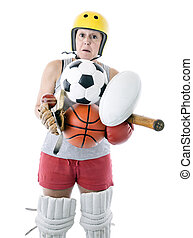 extreme sports - woman struggling to hold sports equipment