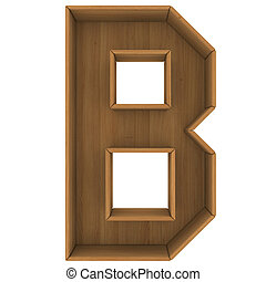 Wooden cabinet-letter Isolated render on a white background